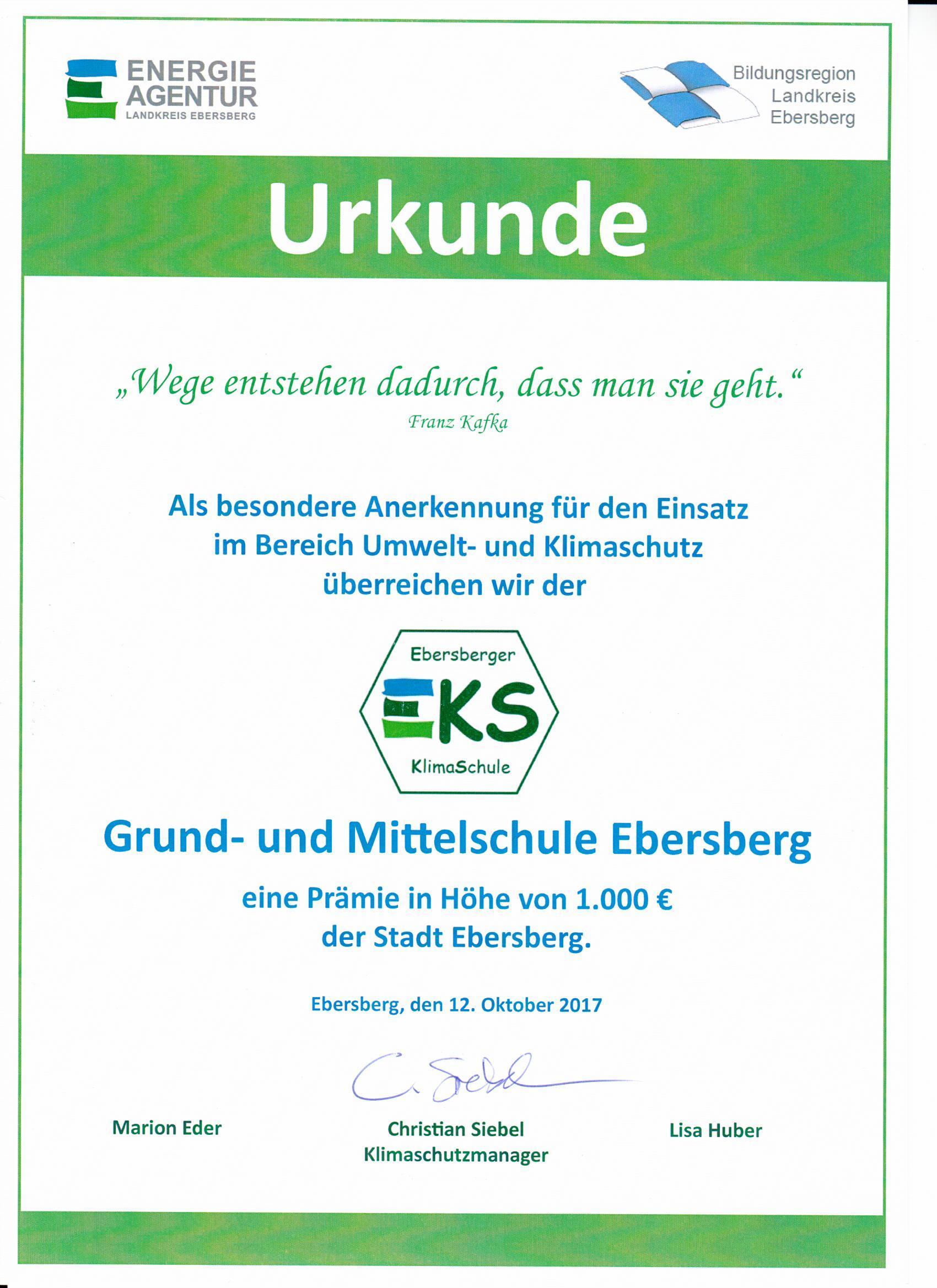 Grund- und Mittelschule Ebersberg erhält Auszeichnung und Prämie als ...