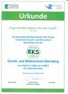 Grund- und Mittelschule Ebersberg erhält Auszeichnung und Prämie als Klimaschule